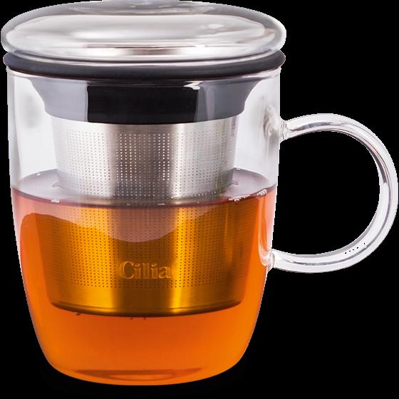 Teeglas mit Filtereinsatz