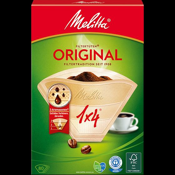 Melitta® Filtertüten® Original, 1x4®, braun, 80 St.